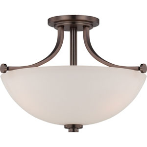 Bentley Hazel Bronze Finish Three Light Semi Flush with Frosted Glass
