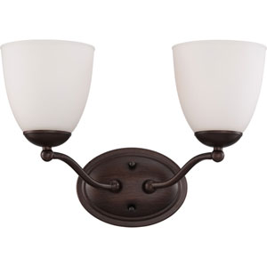 Patton Prairie Bronze Finish Two Light Vanity Fixture with Frosted Glass
