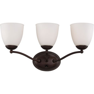 Patton Prairie Bronze Finish Three Light Vanity Fixture with Frosted Glass