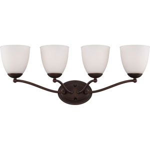 Patton Prairie Bronze Finish Four Light Vanity Fixture with Frosted Glass