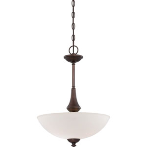 Patton Prairie Bronze Finish Three Light Pendant with Frosted Glass