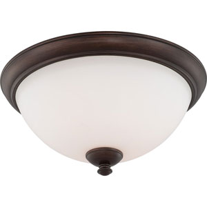 Patton Prairie Bronze Finish Three Light Flush Fixture with Frosted Glass