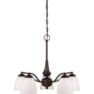 Patton Prairie Bronze Finish Five Light Chandelier (Arms Down) with Frosted Glass