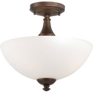 Patton Prairie Bronze Finish Three Light Semi Flush with Frosted Glass