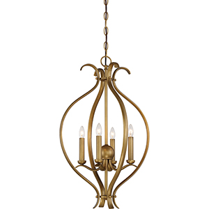 Dillard Natural Brass Four-Light Caged Pendant