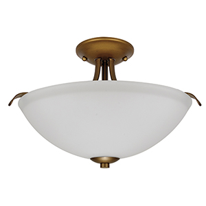 Dillard Natural Brass Two-Light Semi-Flush Mount