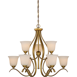 Dillard Natural Brass Nine-Light Chandelier