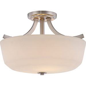Laguna Brushed Nickel Two-Light Semi-Flush Mount