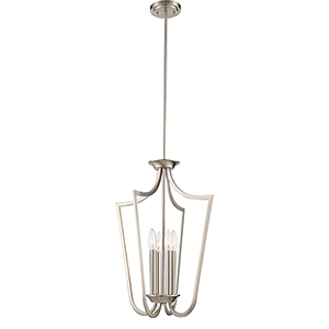 Laguna Brushed Nickel Four-Light Caged Pendant