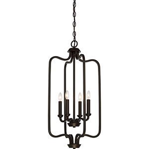 Willow Forest Bronze Four-Light Caged Pendant