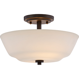 Willow Forest Bronze Two-Light Semi-Flush Mount