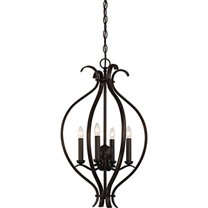 Dillard Forest Bronze Four-Light Caged Pendant