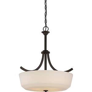 Laguna Forest Bronze Four-Light Pendant with White Glass