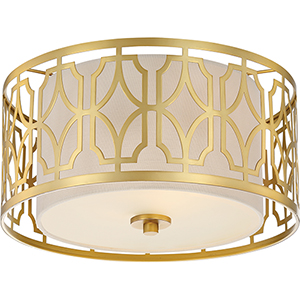 Filigree Natural Brass Two-Light Flush Mount with Beige Linen Shade