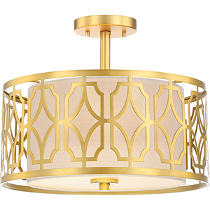 Filigree Natural Brass Two-Light Semi-Flush Mount with Beige Linen Shade