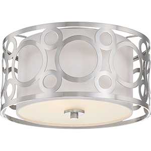Filigree Brushed Nickel Two-Light Flush Mount
