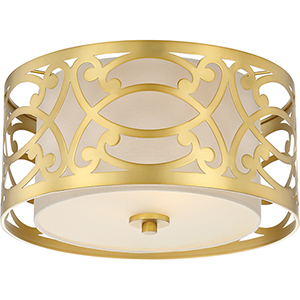 Filigree Natural Brass Two-Light Flush Mount