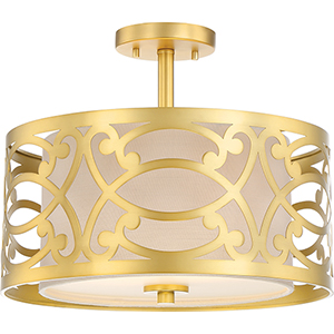 Filigree Natural Brass Two-Light Semi-Flush Mount