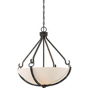 Sherwood Iron Black with Brushed Nickel Accents Four-Light Pendant with Frosted Etched Glass