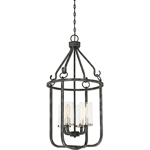 Sherwood Iron Black with Brushed Nickel Accents Four-Light Pendant