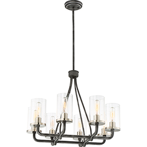 Sherwood Iron Black with Brushed Nickel Accents Eight-Light Chandelier