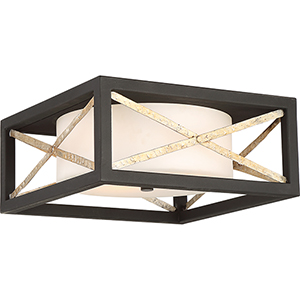 Boxer Matte Black and Antique Silver Accents Two-Light Flush Mount