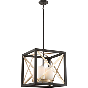 Boxer Matte Black and Antique Silver Accents Four-Light Pendant