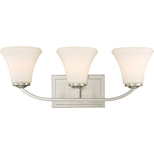 Fawn Brushed Nickel Three-Light Vanity