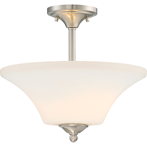 Fawn Brushed Nickel Two-Light Semi-Flush Mount