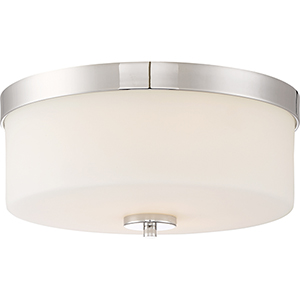 Denver Polished Nickel Two-Light Flush Mount