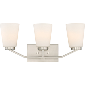 Nome Brushed Nickel Three-Light Vanity