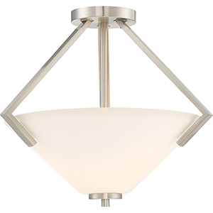 Nome Brushed Nickel Two-Light Semi-Flush Mount