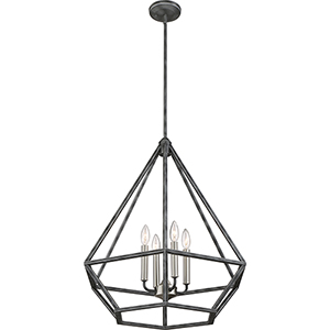 Orin Iron Black with Brushed Nickel Accents Four-Light Pendant