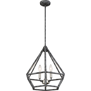 Orin Iron Black with Brushed Nickel Accents Three-Light Pendant