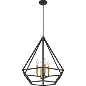Orin Aged Bronze With Brass Accents Four-Light Pendant
