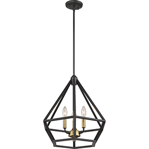 Orin Aged Bronze With Brass Accents Three-Light Pendant