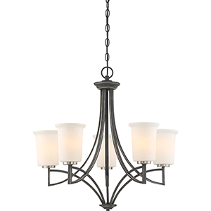 Chester Iron Black Five-Light Chandelier