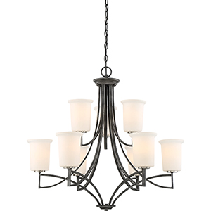 Chester Iron Black Nine-Light Chandelier