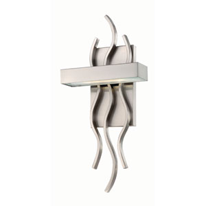 Wave Brushed Nickel One-Light LED Wall Sconce w/ Frosted Glass