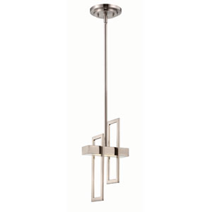 Frame Brushed Nickel One-Light LED Mini Pendant w/ Frosted Glass