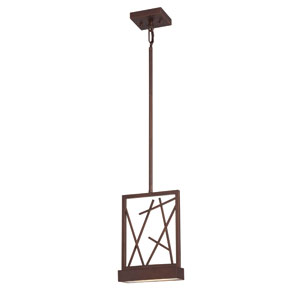 Stix Patina Bronze One-Light LED Mini Pendant w/ Frosted Glass