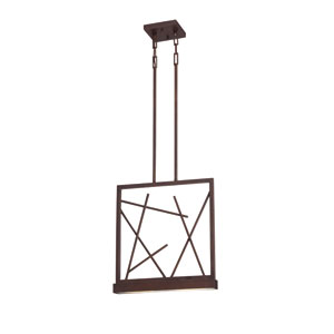 Stix Patina Bronze Two-Light LED Pendant w/ Frosted Glass