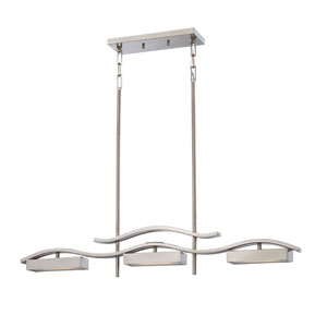Wave Brushed Nickel Three-Light LED Island Pendant w/ Frosted Glass