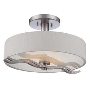 Wave Brushed Nickel One Light LED Semi-Flush Mount Fixture with White Linen Fabric