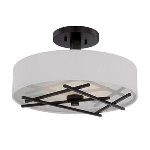 Stix Patina Bronze One Light LED Semi-Flush Mount Fixture with White Linen Fabric