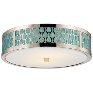 Raindrop Polished Nickel Two-Light LED Flush Mount w/ White Glass and Removable Aquamarine Insert