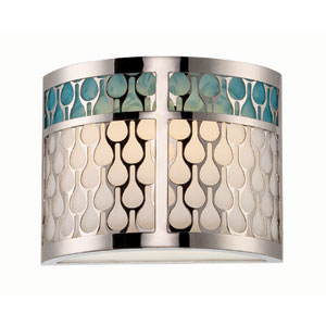 Raindrop Polished Nickel One-Light LED Wall Sconce w/ White Lucite and Removable Aquamarine Insert