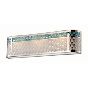 Raindrop Polished Nickel Three-Light LED Vanity Fixture w/ White Lucite and Removable Aquamarine Insert