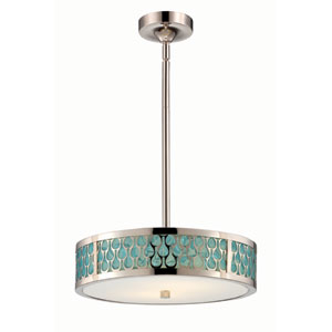 Raindrop Polished Nickel Two-Light LED Small Pendant w/ White Glass and Removable Aquamarine Insert