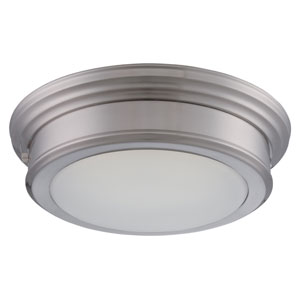 Chance Brushed Nickel One Light LED Flush Mount Fixture with Frosted Glass